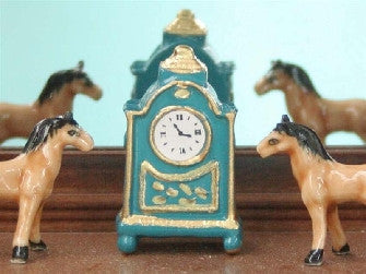 Dolls House Miniature Blue Clock, Clocks - The Dolls House Store