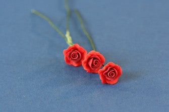 Dolls House Miniature Set Of 6 Single Roses Red, Flowers - The Dolls House Store
