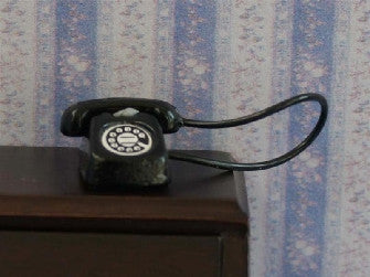 Dolls House Miniature Black Telephone, Hall - The Dolls House Store