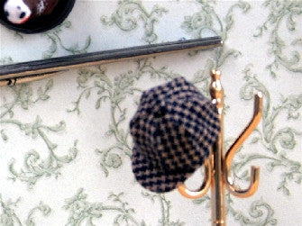 Dolls House Miniature Checked Hat, Bedroom - The Dolls House Store
