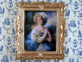 Dolls House Miniature Blue Lady, Paintings - The Dolls House Store