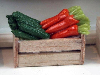 Dolls House Miniature Carrots And Courgettes  In Wooden Crates, Food and Drink - The Dolls House Store