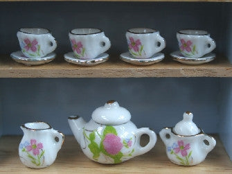 Dolls House Miniature Tea Set White And Pink Floral Design, Tableware and Dinner Sets - The Dolls House Store