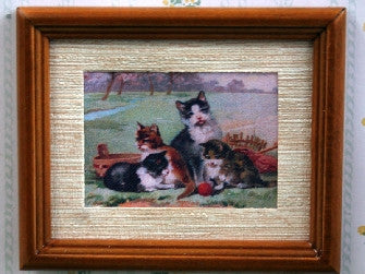 Dolls House Miniature Cat Picture - Brown Frame, Fireside - The Dolls House Store