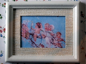 Dolls House Miniature Baby On A Branch Picture - White Frame, Fireside - The Dolls House Store
