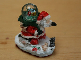 Dolls House Miniature Santa  Water Globe Ornament, Christmas - The Dolls House Store