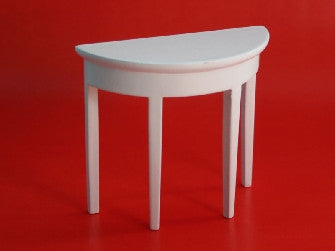 Dolls House Miniature White Demi Lune Side Wall Table, Living Room - The Dolls House Store