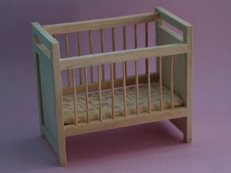 Dolls House Miniature Barewood cot with sliding rail (Some assembly required), Whitewood Furniture - The Dolls House Store