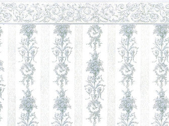 Dolls House Miniature Symphony Stripe Blue, Wallpaper - The Dolls House Store