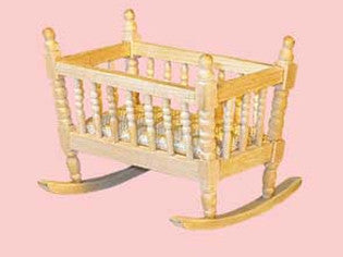 Dolls House Miniature Barewood rocking cradle, Whitewood Furniture - The Dolls House Store