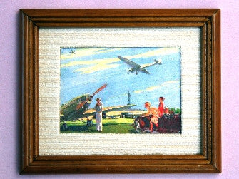 Dolls House Miniature Airfield - Brown Frame, Paintings - The Dolls House Store