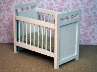 Dolls House Miniature White painted cot with sliding rail, Nursery - The Dolls House Store
