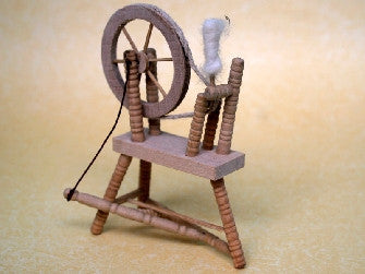 Dolls House Miniature Spinning Wheel Barewood, Whitewood Furniture - The Dolls House Store