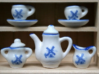 Dolls House Miniature Delft tea/coffee set, Kitchen - The Dolls House Store