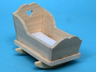 Dolls House Miniature Barewood heart cradle, Whitewood Furniture - The Dolls House Store