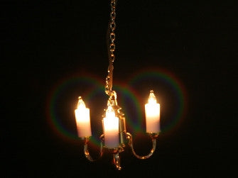 Dolls House Miniature 3 Arm Candle Chandelier, Lighting - The Dolls House Store