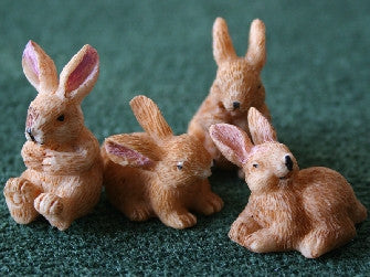 Dolls House Miniature 4 Playful Bunny Rabbits, Garden - The Dolls House Store