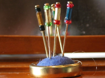 Dolls House Miniature Blue Hatpin Stand and Pins, Bedroom - The Dolls House Store