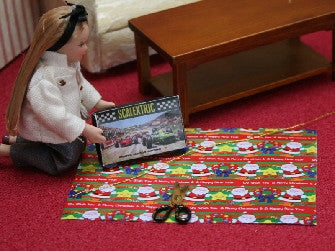 Dolls House Miniature Boys Christmas Wrapping Paper & Gift Set, Christmas - The Dolls House Store