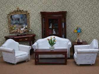 Dolls House Miniature Lounge Set - Set Of 7 Pieces, Living Room - The Dolls House Store