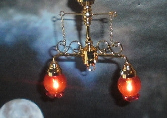 Dolls House Miniature 2 down-arm chandelier w/cranberry shade, Lighting - The Dolls House Store