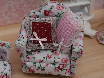 Dolls House Miniature Floral Arm Chair with two cushions, Living Room - The Dolls House Store