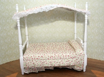 Dolls House Miniature White Canopy Bed, Bedroom - The Dolls House Store