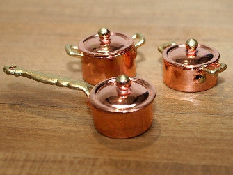 Dolls House Miniature Copper Pans Finest Quality (3 Pc), Kitchen - The Dolls House Store