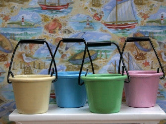 Dolls House Miniature Buckets Set of 4 in pastel colours. Light Blue Green Pink and Yellow, Accessories - The Dolls House Store