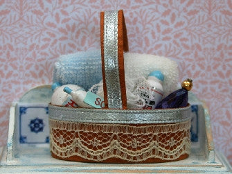 Dolls House Miniature Bathroom Basket Blue, Bathroom - The Dolls House Store