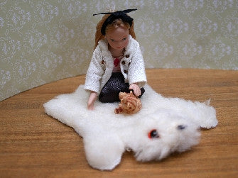 Dolls House Miniature Cream Bear Rug Improved Quality, Flooring - The Dolls House Store