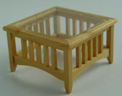Dolls House Miniature Glass Top Table, Living Room - The Dolls House Store