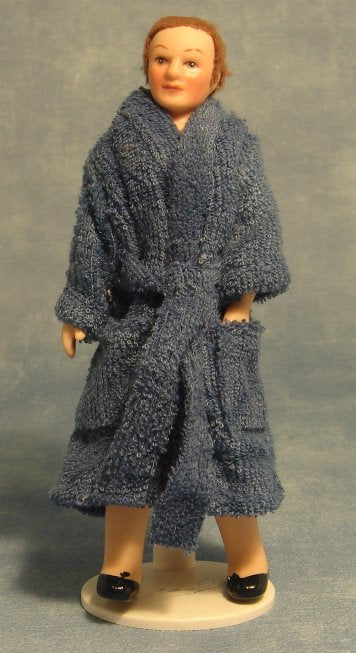 Dolls House Miniature Porcelain Doll Man in Bathrobe, Dolls and Resin Figures - The Dolls House Store