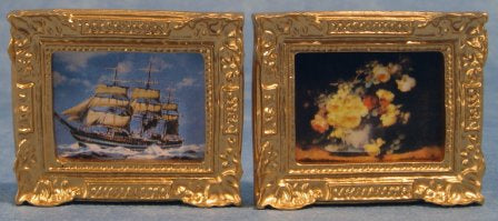 Dolls House Miniature Pack Of Two Paintings, Paintings - The Dolls House Store