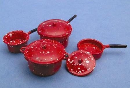 Dolls House Miniature Saucepan Set Red, Kitchen - The Dolls House Store