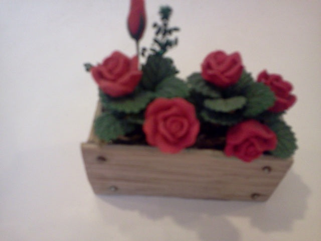 Dolls House Miniature Red Rose Window Box, Flowers - The Dolls House Store