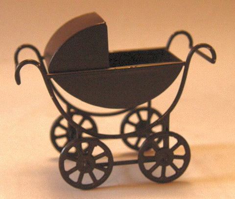 Dolls House Miniature Black Pram, Nursery - The Dolls House Store