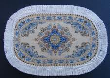 Dolls House Miniature Oval Turkish Rug Cream/Blue, Flooring - The Dolls House Store