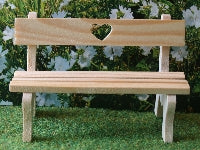 Dolls House Miniature Love Heart Garden Bench, Garden - The Dolls House Store
