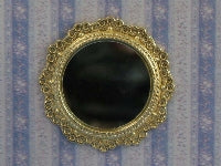 Dolls House Miniature Round Mirror Gold, Hall - The Dolls House Store