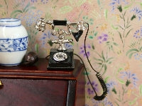Dolls House Miniature Black Phone, Hall - The Dolls House Store