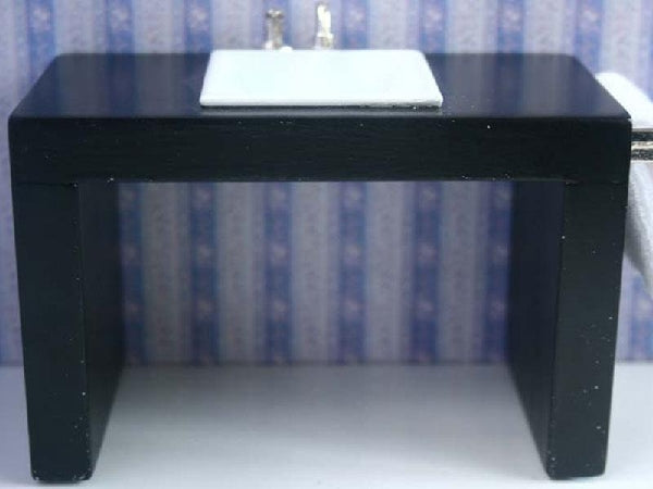 Dolls House Miniature Black Modern Basin Unit, Bathroom - The Dolls House Store