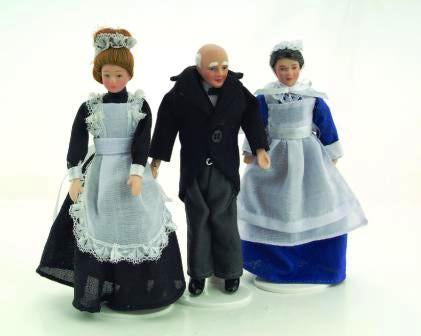 Dolls House Miniature Porcelain Doll Victorian Servant set, Dolls and Resin Figures - The Dolls House Store