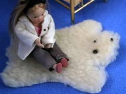 Dolls House Miniature Cream Bear Rug, Flooring - The Dolls House Store