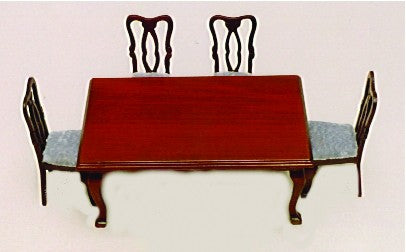 Dolls House Miniature Rectangular Dining Table and Four Chairs, Dining Room - The Dolls House Store