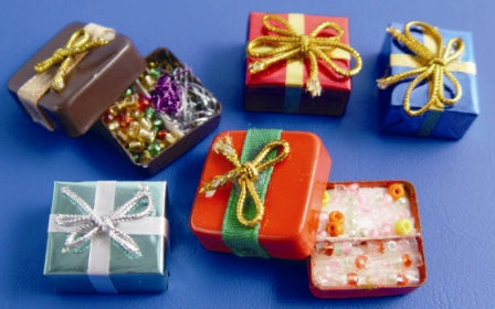 Dolls House Miniature Xmas Parcels (pk5), Christmas - The Dolls House Store
