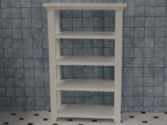 Dolls House Miniature White Wood Shelving Unit, Bathroom - The Dolls House Store