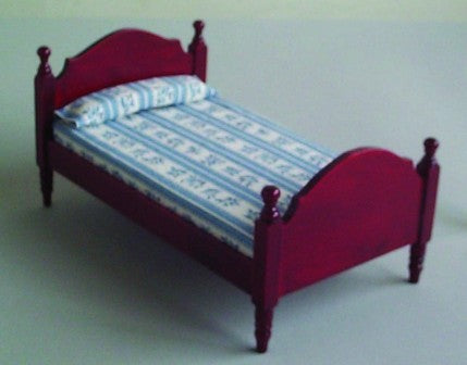 Dolls House Miniature Single Bed Mahog, Bedroom - The Dolls House Store