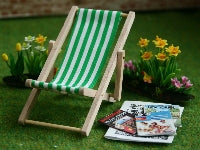 Dolls House Miniature Green Deck Chair, Garden - The Dolls House Store