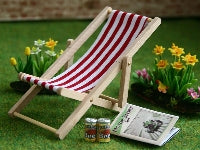 Dolls House Miniature Red Deck Chair, Garden - The Dolls House Store